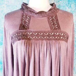 easel Tops - *SOLD* Easel Boho Distressed Purple Crochet Tunic